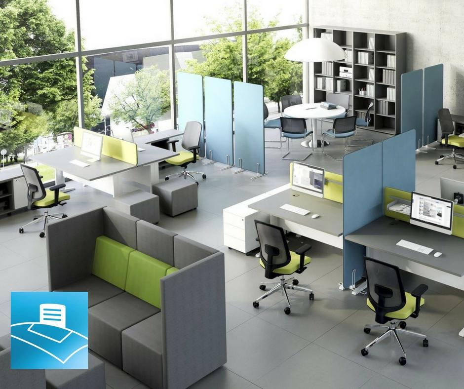 Oficina compuesta por varios espacios dentro del open space